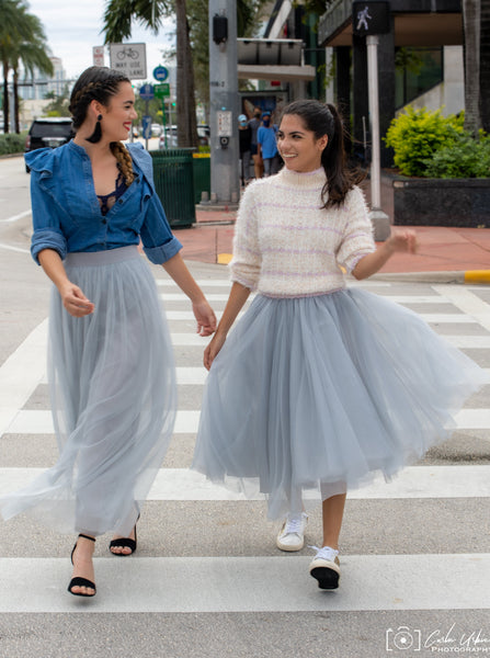 Long Light Gray Tulle Skirt