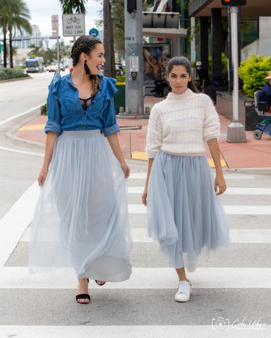 Midi Light Gray Tulle Skirt