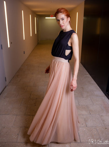 Gala Champagne Tulle Skirt