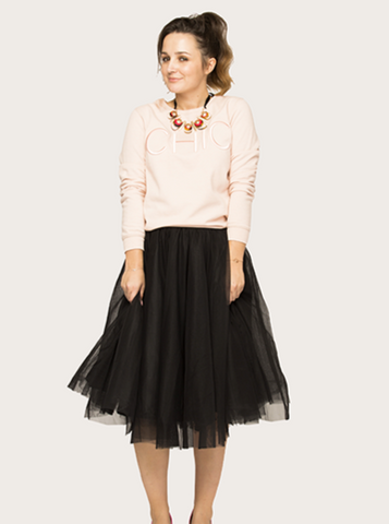 Midi Black Tulle Skirt
