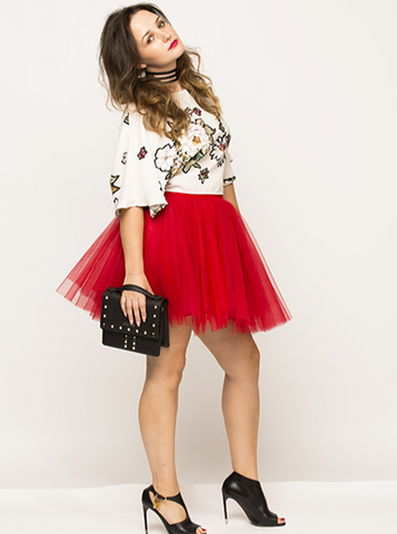 Mini Red Tulle Skirt