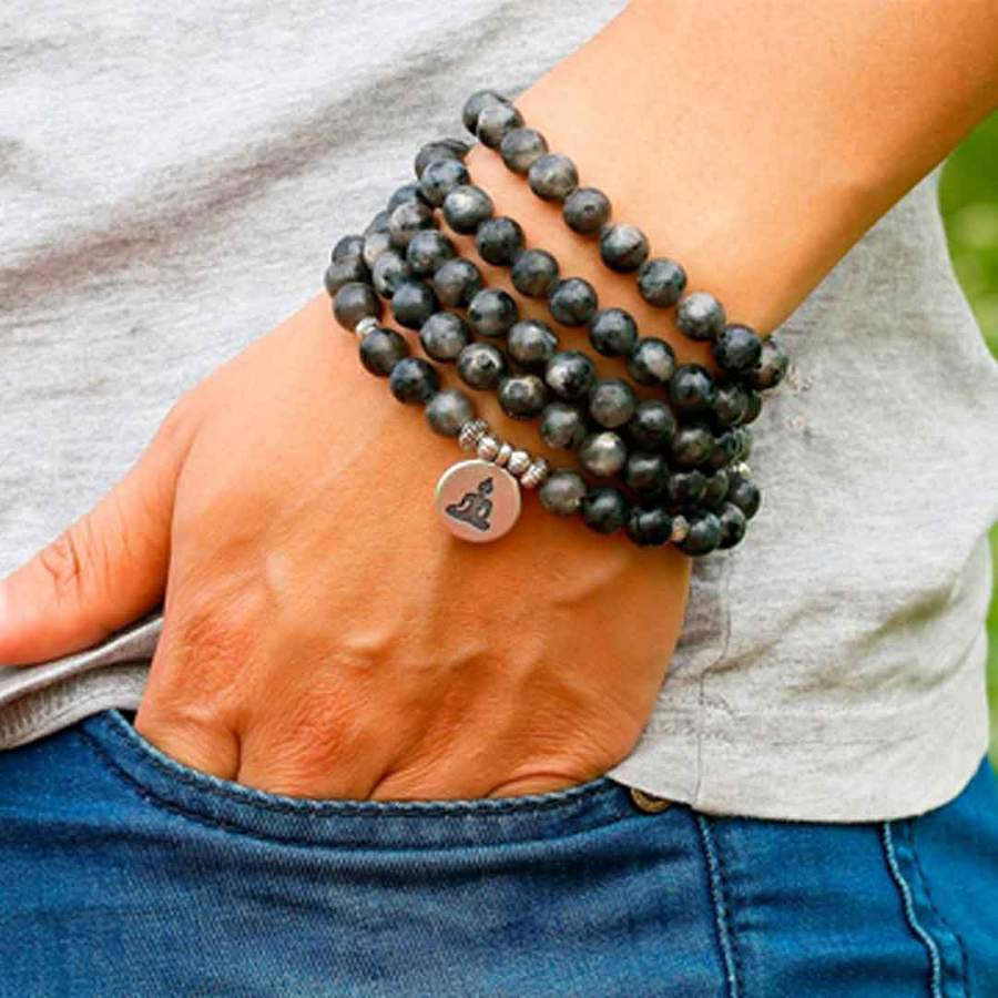 Connect with Intuition - 108 Labradorite beads with an OM, Lotus or Buddha Charm Wear as a Bracelet or Necklace