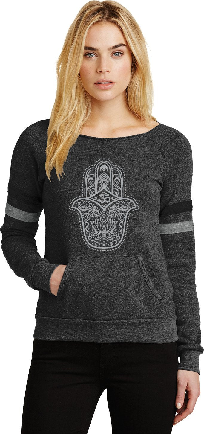 Grey Hamsa OM Eco-Fleece Yoga Sweatshirt