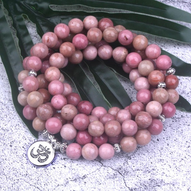 108 mala Natural Rhodochrosite Stone Beaded Buddha OM Lotus Charm Bracelet For Women Lucky Meditation Yoga Jewelry