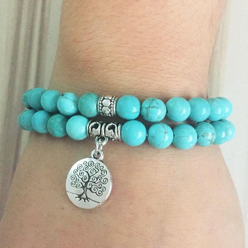 Turquoise Tree of Life Mala Bracelet Stack