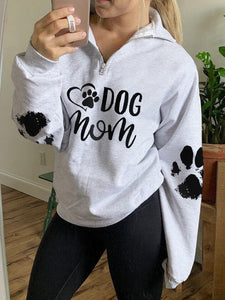Women's DOG MOM Paw Print Zip Top