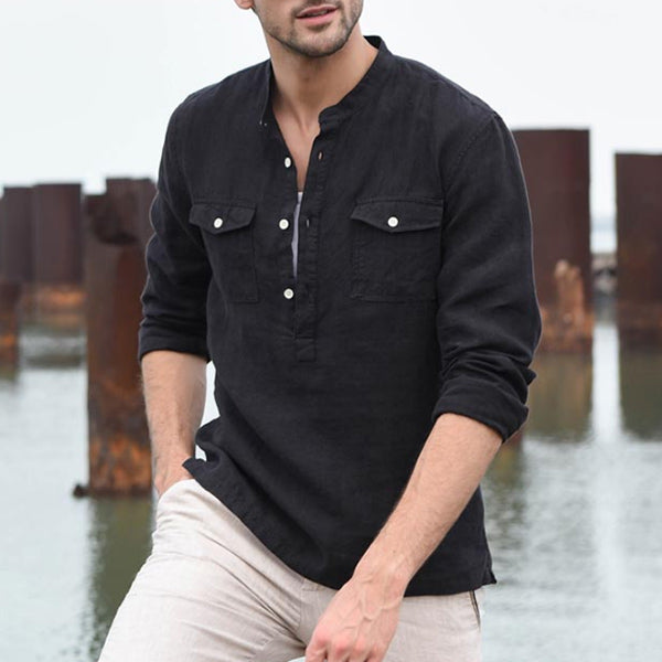 Men's Linen Comfortable Thin Casual Long Sleeve Shirt