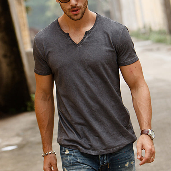 Men's Retro Cotton Slim V-Neck Short Sleeve T-Shirt