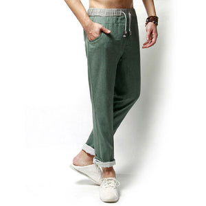 Men's loose cotton and linen casual trousers