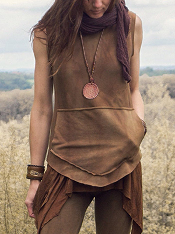 Women's Vintage Hand-Stained Pocket Sleeveless Hoodie