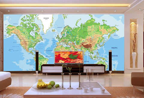 Image of Business World Map 2 Wallpaper Wall Decals Wall Art Wall Print Mural Home Decor Gift Office