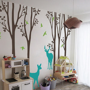 Deer Forest Bird Tree Wall Decals Wall Arts Nursery Kids Decor
