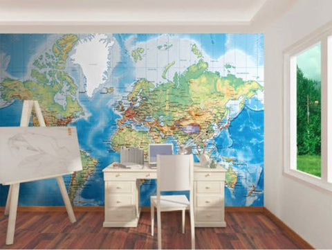 Image of Business World Map 1 Wallpaper Wall Decals Wall Art Wall Print Mural Home Decor Gift Office