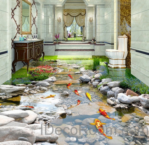 3D Fish Stone Stream Floor Decals WallPaper Murals Wall Print Sticker Kitchen Bathroom Business Home Office Decor