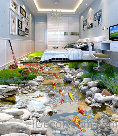 Image of 3D Fish Stone Stream Floor Decals WallPaper Murals Wall Print Sticker Kitchen Bathroom Business Home Office Decor