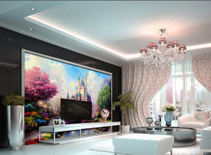 Wall Paper Pink  Princess Castle Wallpaper Wall Decals Wall Art Print Mural Home Decor Indoor Bussiness Office Deco