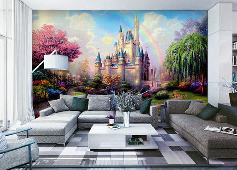 Image of Wall Paper Pink  Princess Castle Wallpaper Wall Decals Wall Art Print Mural Home Decor Indoor Bussiness Office Deco