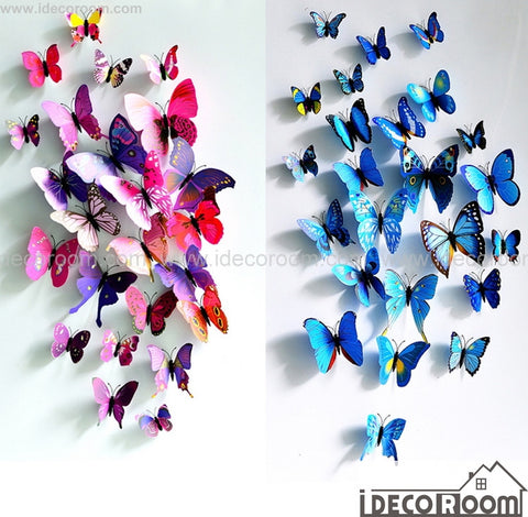 3D Butterflies Wall Decals Magnetic Fridge Wall Decor