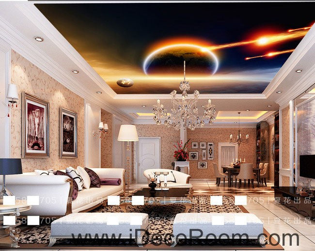 Planet Outer Space Comet 00061 Ceiling Wall Mural Wall paper Decal Wall Art Print Decor Kids wallpaper