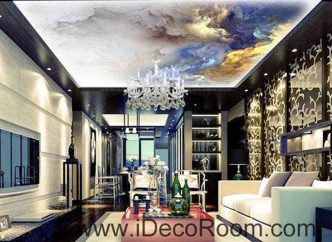Gold Blue Clouds Fog 00062 Ceiling Wall Mural Wall paper Decal Wall Art Print Decor Kids wallpaper
