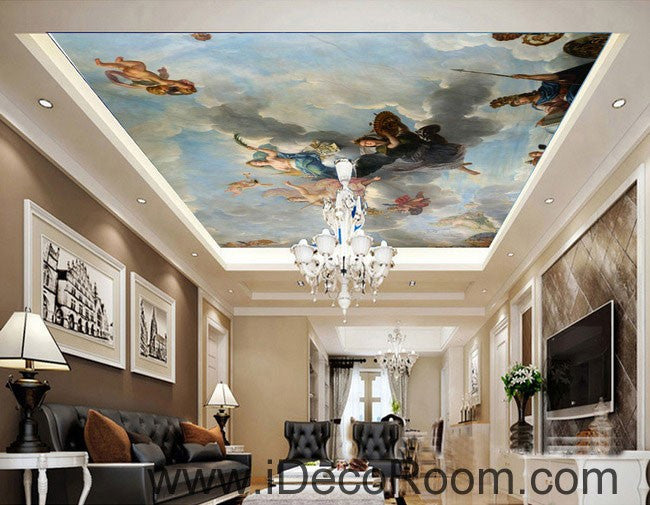 Classic oil painting angel clouds 00063 ceiling wall mural for Decor mural underground