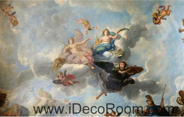 Classic Oil Painting Angel Clouds 00063 Ceiling Wall Mural Wall paper Decal Wall Art Print Decor Kids wallpaper