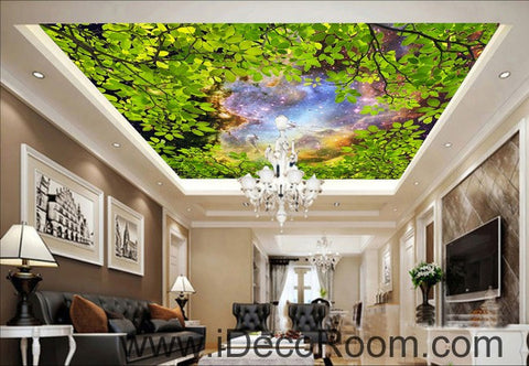 Green Tree Leaves Night Sky 00064 Ceiling Wall Mural Wall paper Decal Wall Art Print Decor Kids wallpaper