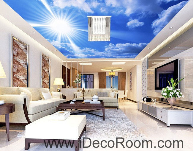 Sunny Day Clouds Blue Sky 00068 Ceiling Wall Mural Wall paper Decal Wall Art Print Decor Kids wallpaper