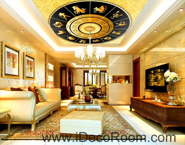 Golden Star Sign Map 00072 Ceiling Wall Mural Wall paper Decal Wall Art Print Decor Kids wallpaper