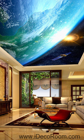 Image of Sun Earth Ourterspace Satellite 00076 Ceiling Wall Mural Wall paper Decal Wall Art Print Decor Kids wallpaper