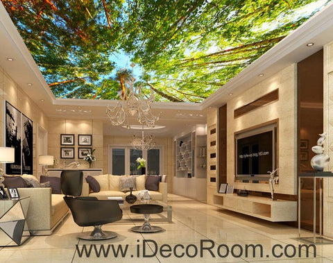 Tall Tree Forest Blue Sky 00077 Ceiling Wall Mural Wall paper Decal Wall Art Print Decor Kids wallpaper