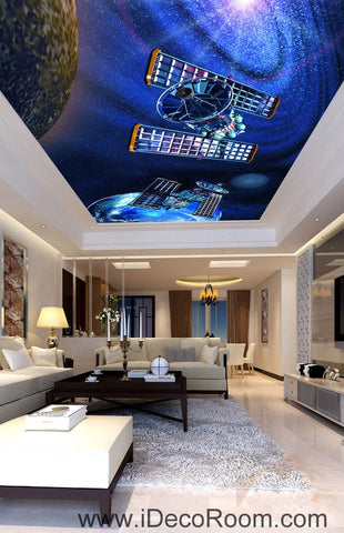 Image of Satellite Earth Outerspace Planet 00078 Ceiling Wall Mural Wall paper Decal Wall Art Print Decor Kids wallpaper