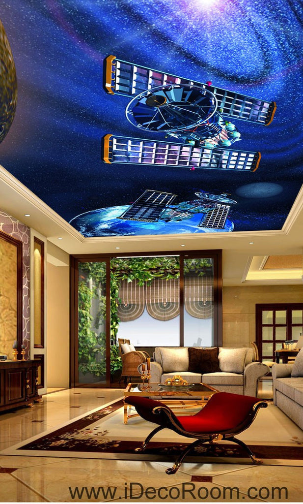 Satellite Earth Outerspace Planet 00078 Ceiling Wall Mural Wall paper Decal Wall Art Print Decor Kids wallpaper