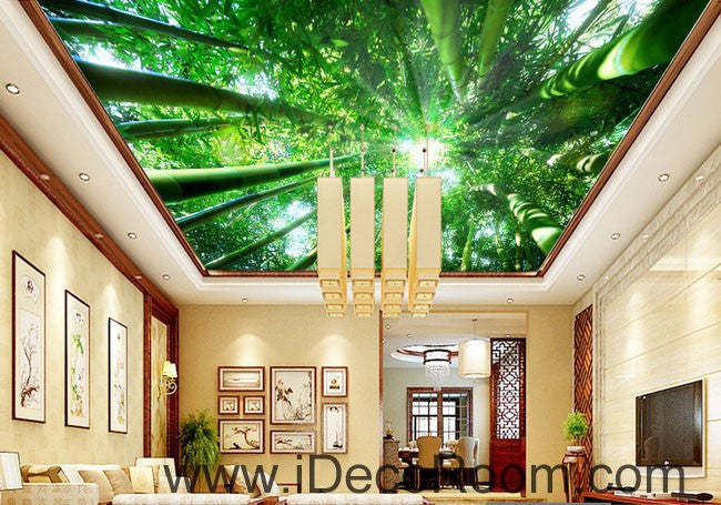 Huge Bamboo Forest Sun Beam 00079 Ceiling Wall Mural Wall paper Decal Wall Art Print Decor Kids wallpaper