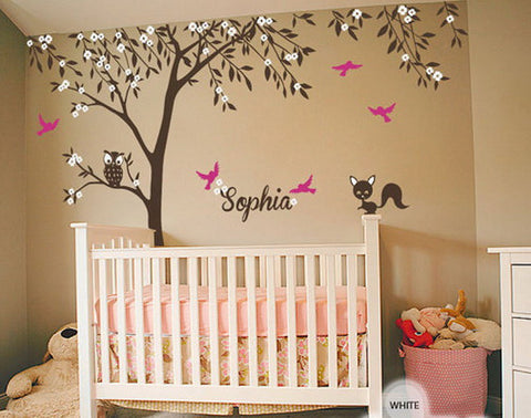 Image of Owl Fox Bird Blossom Personalize Name Custom Tree Wall Decals Baby Nursery Kids Sticker Vinyl Decor Art Mural