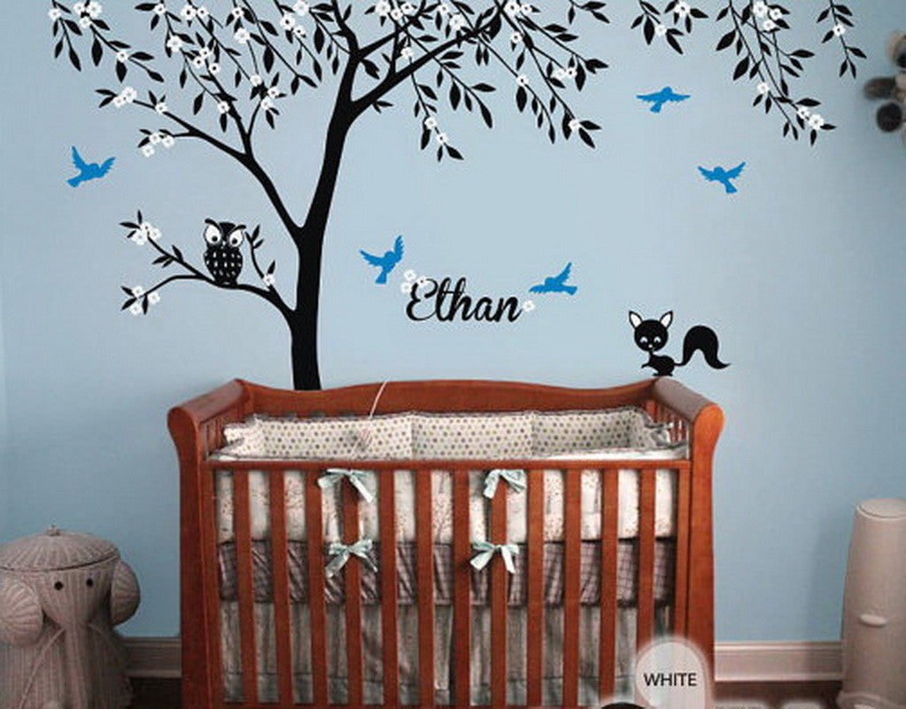 Owl Fox Bird Blossom Personalize Name Custom Tree Wall Decals Baby - Vinyl wall decals baby nursery