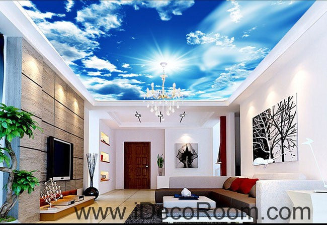 Sunshine clouds blue sky 00082 ceiling wall mural wall for Ceiling mural decal