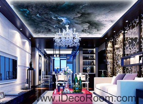 Image of Grey abstract Smoke Clouds 00084 Ceiling Wall Mural Wall paper Decal Wall Art Print Decor Kids wallpaper
