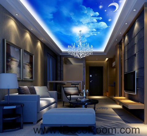 Image of Clouds Castle Moon Fantacy Nursery Kids 00089 Ceiling Wall Mural Wall paper Decal Wall Art Print Decor Kids wallpaper