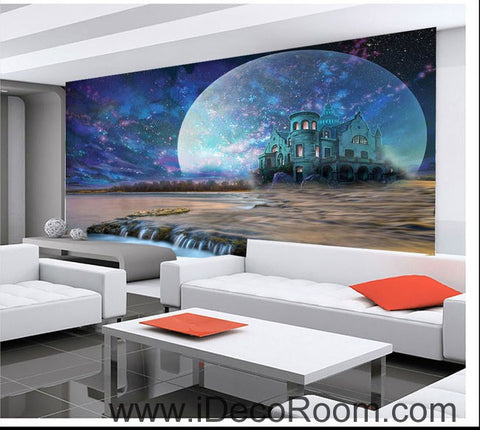 Image of Big Moon Castle Night Fog Star 00092 Ceiling Wall Mural Wall paper Decal Wall Art Print Decor Kids wallpaper