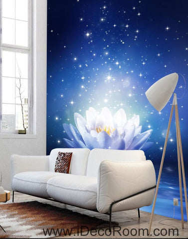 Image of Blue Lotus Star Night 00095 Ceiling Wall Mural Wall paper Decal Wall Art Print Decor Kids wallpaper