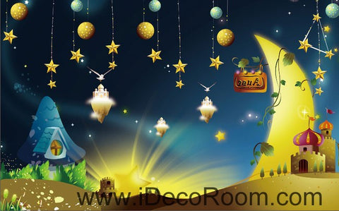 Image of Fairy Tale Star Night Moon 00097 Ceiling Wall Mural Wall paper Decal Wall Art Print Decor Kids wallpaper