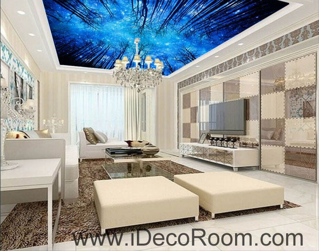 Star Night Forest Sky 00099 Ceiling Wall Mural Wall paper Decal Wall Art Print Decor Kids wallpaper