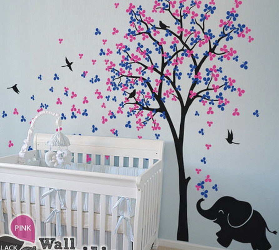 baby elephant bird flower blossom tree wall decals art nursery sticker idecoroom. Black Bedroom Furniture Sets. Home Design Ideas