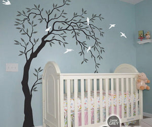 Willow Bird Tree Wall Decals Art Nursery Kids Baby Decor Sticker Mural