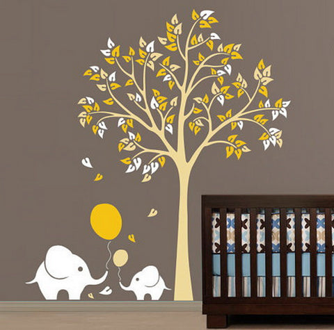 2 Elephant Ballon Tree Nursery Kids Baby Wall Decals Art Sticker Mural Gift Decals