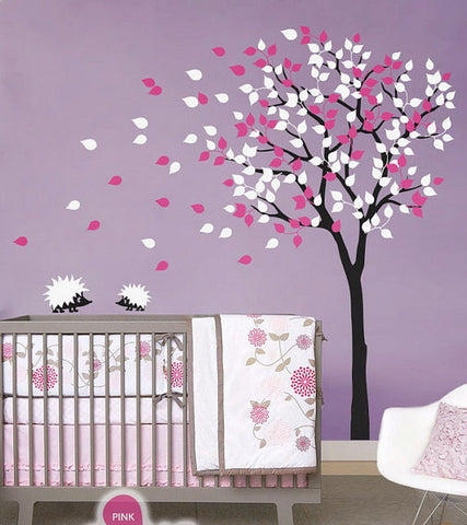 Image of 2 Hedgehog Blowing Tree Nursery Kids Baby  Wall Decals Vinyl Art Decor Mural