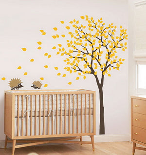 2 Hedgehog Blowing Tree Nursery Kids Baby  Wall Decals Vinyl Art Decor Mural