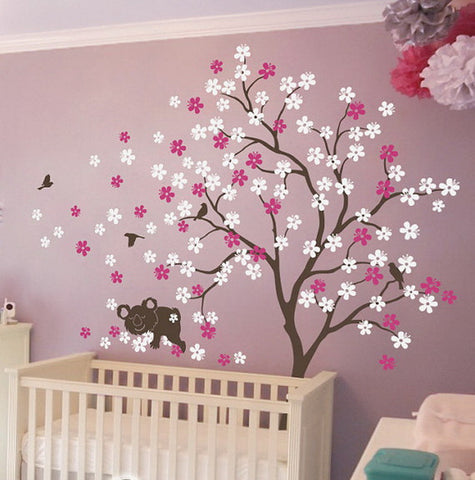 Image of Sweet Dream Koala Bird Flower Blossom Tree Wall Decals Vinyl Arts Nursery Kids Baby Sticker Gifts