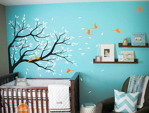 Blowing Corner Tree Birds Wall Decals Nursery Kids Baby Decor Arts Gifts